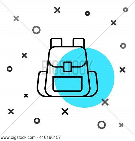 Black Line Hiking Backpack Icon Isolated On White Background. Camping And Mountain Exploring Backpac