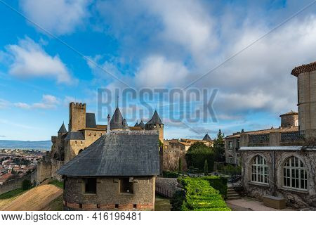 View Over The Historical Castle Carcassone - Cite De Carcassone - With The Towers And A Yard, Backgr