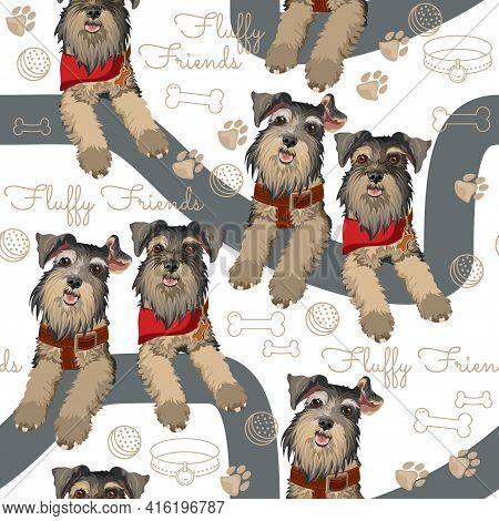 Dog Breed Schnauzer Seamless Pattern. Vector Flat Illustration.