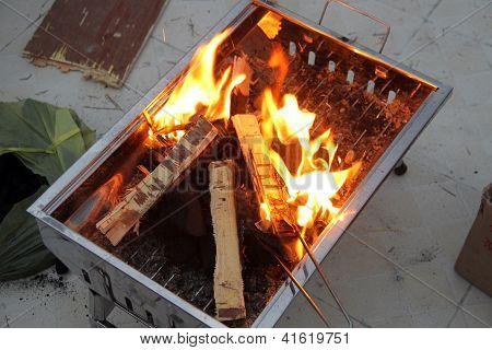 Barbecue fire