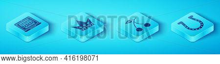 Set Isometric Laptop And Slot Machine, King Playing Card, Horseshoe And Casino Slot Machine With Che