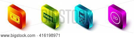 Set Isometric Vhs Video Cassette Tape, Screen Tv With Smart Video, Director Movie Chair And 3d Word