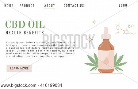 Cbd Hemp Oil Web Banner In Organic Color With Marijuana Leaf On White Background With Chemical. Natu