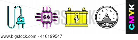 Set Electric Plug, Processor With Microcircuits Cpu, Car Battery And Ampere Meter, Multimeter, Voltm