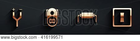 Set Electric Cable, Electrical Outlet, Resistor Electricity And Electric Light Switch Icon With Long