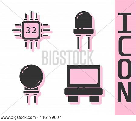 Set Fuse, Processor With Microcircuits Cpu, Light Emitting Diode And Light Emitting Diode Icon. Vect