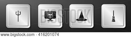 Set Neptune Trident, Skull, Witch Hat And Witches Broom Icon. Silver Square Button. Vector