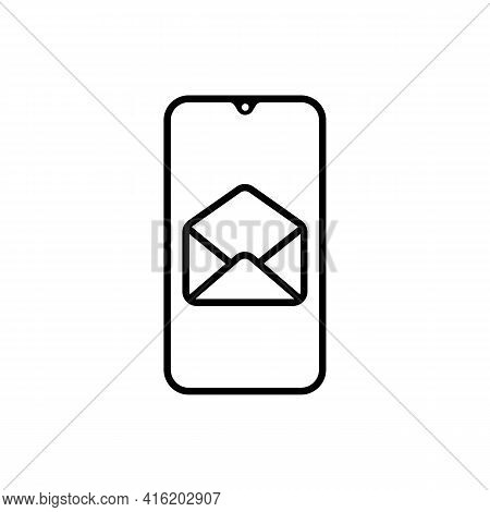 New Message Or Sms On The Smartphone Screen Line Icon. Send A Letter Concept. Unread Email. Trendy I