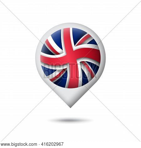 Great Britain Flag Icon In The Shape Of Pointer, Map Marker. Uk Pattern. Abstract Flag Of United Kin