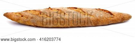 The Baguette Is Isolated On A White Background. Bread Bun, French Baguette.