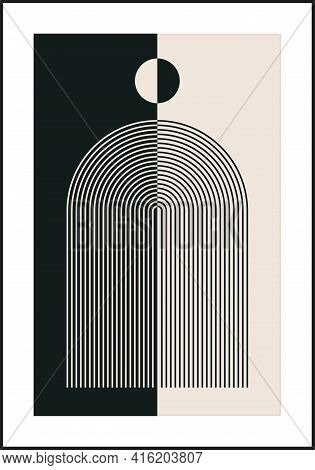 Minimal 20s Geometric Design Poster, Vector Template With Primitive Shapes