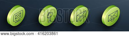 Set Isometric Speech Bubble With Envelope, Mail Box, Envelope With Valentine Heart And Delete Envelo
