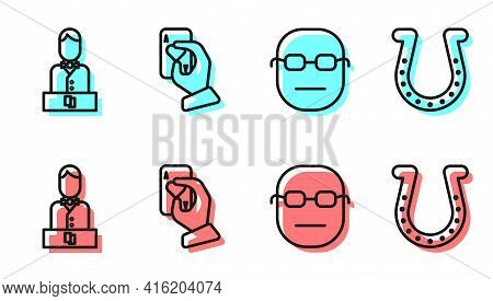 Set Line Poker Player, Casino Dealer, Hand Holding Playing Cards And Horseshoe Icon. Vector
