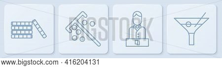 Set Line Casino Chips, Casino Dealer, Stick For Chips And Martini Glass. White Square Button. Vector