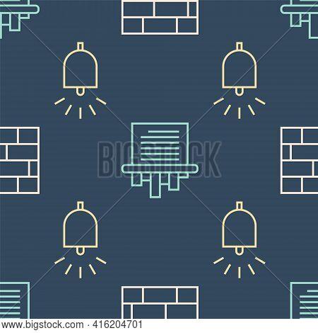 Set Line Bricks, Ringing Alarm Bell And Paper Shredder On Seamless Pattern. Vector