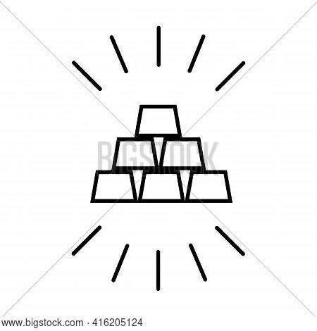 Gold Bars, Ingots, Bullion Thin Black Line Icon. Elements Of Banking. Trendy Isolated Symbol, Used F