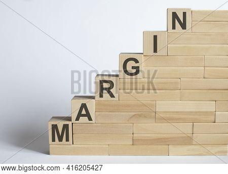 Work Strategy On Wood Blocks Margin On The White Background