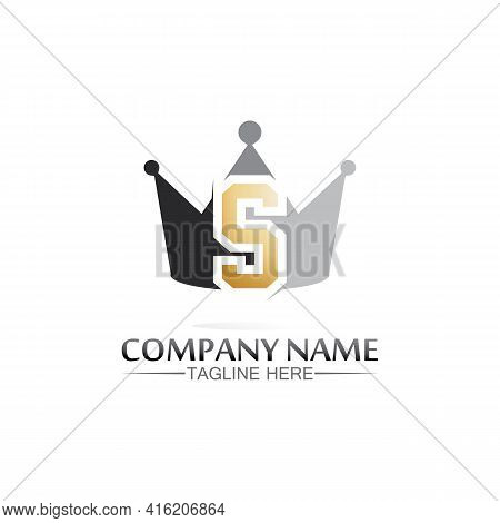 S Crown King And Queen Logo, Princess, Crown Logo Template Vector Icon Illustration Design