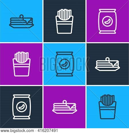 Set Line Stack Of Pancakes, Bag Or Packet Potato Chips And Potatoes French Fries In Box Icon. Vector
