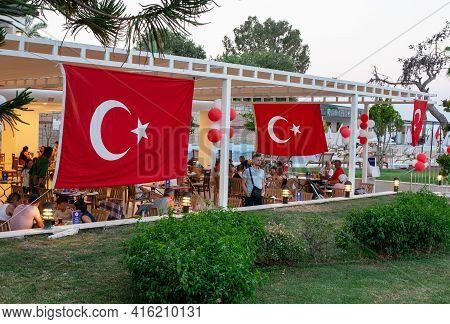 Kemer, Turkey - 11.07.2020. Turkish Flags In Hotel Restaurant. Hotel Event Turkish Night Show With N