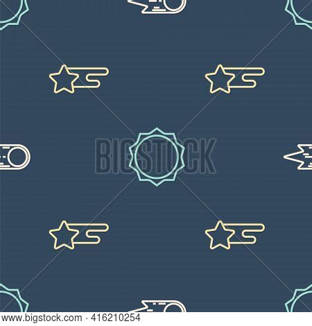 Set Line Comet Falling Down Fast, Falling Star And Sun On Seamless Pattern. Vector