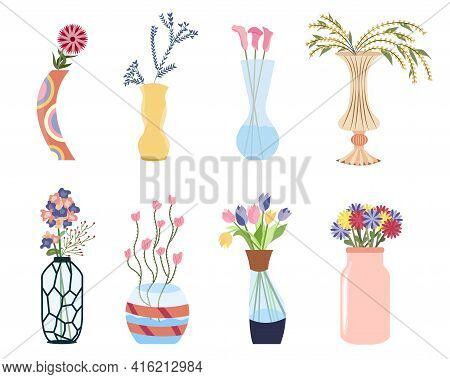 Bouquet Of Flowers Set. Tulips, Callas, Daisies With Vases, Jugs And Glass Bottles With Water. Sprin