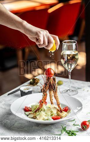 Caesar Salad With Shrimp. Caesar Salad With King Prawns In A White Plate. Restaurant Menu, Dieting,