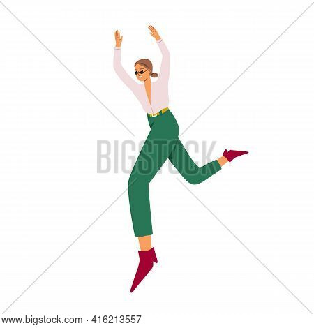 Happy Young Woman Jumping For Fun And Joy, Feeling Freedom. Carefree Smiling Character With Positive