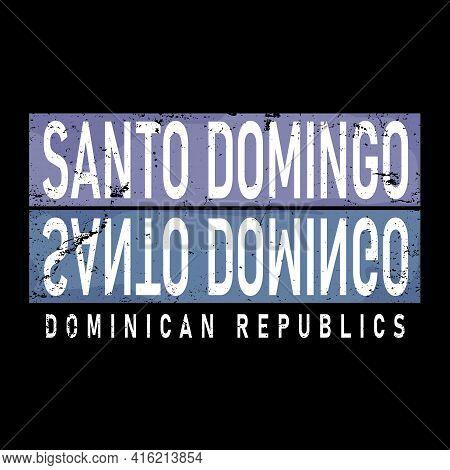 Santo Domingo Colored Modern T-shirt Logo Vector Illustration.