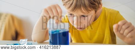 Banner, Long Format Chemical Home Tests. Tools For The Home Lab. The Boy Explorer. Child Is Watching