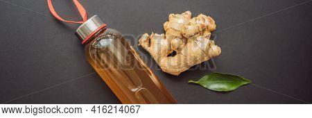 Ginger Ale - Homemade Lemon And Ginger Organic Probiotic Drink Or Kombucha, Copy Space Banner, Long