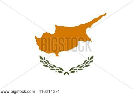 Flag Of The Republic Of Cyprus. Rectangular White Panel With A Silhouette Of A Copper Colored Island