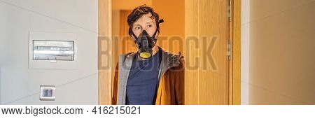 Banner, Long Format Close Up Portrait Of Young Man Puts On A Respirator Before Leaving The House. Ma