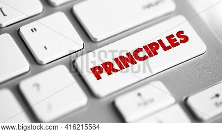 Principles Button On Keyboard, Business Concept Background