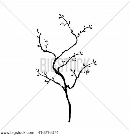 Bare Simple Not Perfect Black Tree Silhouette With Leaves. Illustration Isolated On White. Hand Draw