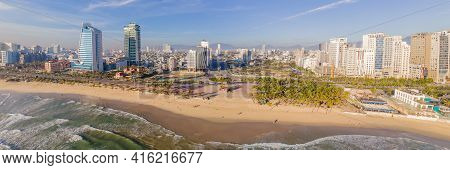 Beautiful My Khe Beach From Drone In Da Nang, Vietnam, Street And Buildings Near The Central Beach A