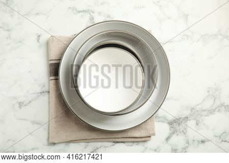 Set Of Clean Dishware On White Marble Table, Flat Lay