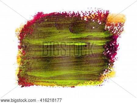 Fuchsia Brush Stroke With Patches Of Green And Texture. Hard, Painterly Texture Of Acrylic Paint On