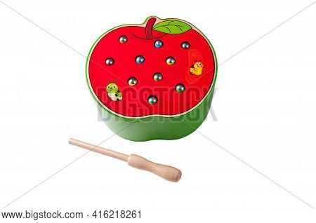 Apple With Worms Made Of Wood. Catch Worms With A Fishing Rod On A Magnet. Educational Toy Montessor