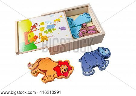 African Wild Animals Magnetic Puzzle. The Box Contains A Set. Educational Toy Montessori. White Back