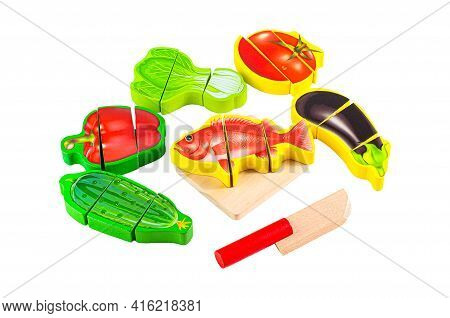 Cooking Fish. Set Of Vegetables, Fish, Knife And Cutting Board. With Educational Toy Montessori. Whi