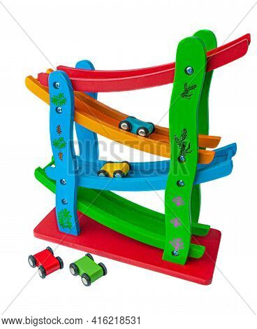 Vertical Track With Racing Cars. The Material Is Wood. Educational Toy Montessori. White Background.