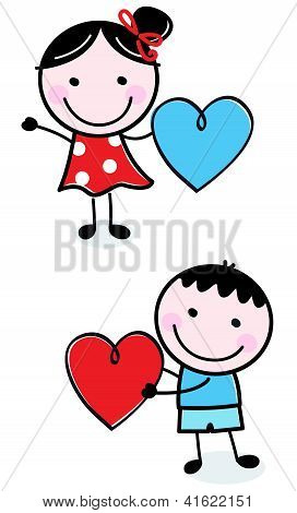 Cute Stick Figure Kids Holding Valentine's Day Hearts