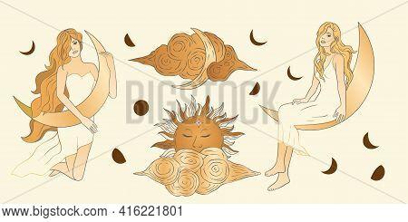 Celestial Feminine Blonde Girl Lady Sacred Woman Astrology Boho Esoteric Golden Art. Woman With Moon