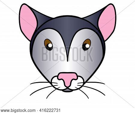 Mouse. Cute Muzzle Of A Mouse Or Rat - Vector Full-color Picture For Children's Books And Goods. The