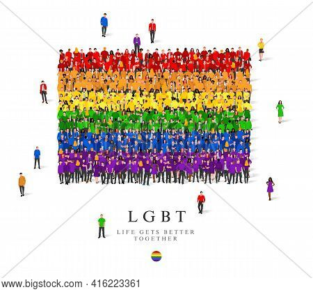 A Large Group Of People Are Standing In Rainbow Robes, Symbolizing The Lgbt Flag. Vector Illustratio