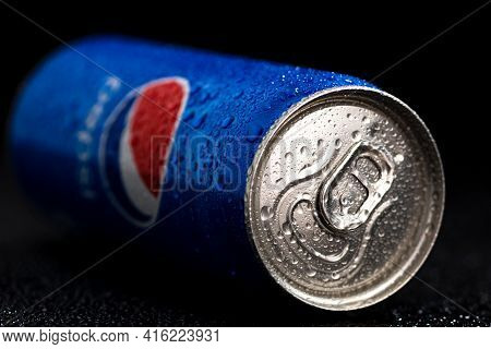 Editorial Photo Of Pepsi Can With Water Droplets On Black Background. Studio Shot In Bucharest, Roma