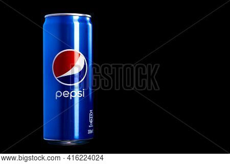 Editorial Photo Of Classic Pepsi Can On Black Background. Studio Shot In Bucharest, Romania, 2021