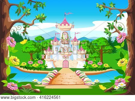Fairy Tale Background With The Castle Of The Beautiful Princess. Castle With Pink Flags, Precious He