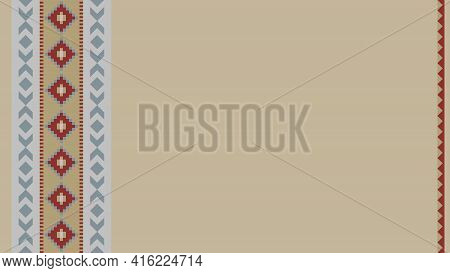 Ethnic Tribal Pattern Background With Copy Space For Text. For Banner, Fliers, Business Card, Restau